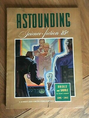 Astounding Science Fiction US Bedsheet fiction pulp Jun 1942 Asimov, Hubbard etc