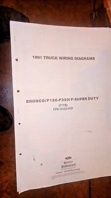 1991 Ford F150 250 350 Trucks S Duty & Bronco Factory Wiring Diagrams Very Clean