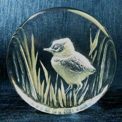 Mats Jonasson Swedish Art Glass Bird Intaglio Paperweight