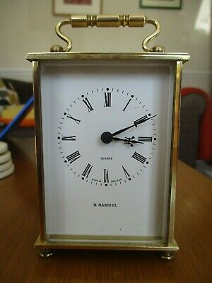 Vintage Brass W. German Quartz Movement Carriage Clock-Weiss Clocks for H.Samuel