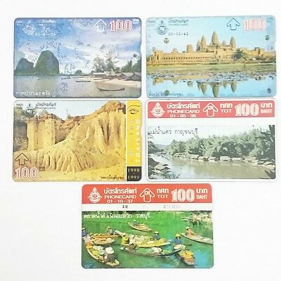 Phone cards used 1993-1999,rare collector Historical sites of Thailand  x 5 Pcs