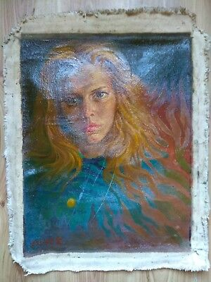 Original Oil Painting Portrait girl woman Retro USSR Soviet Socialist realism