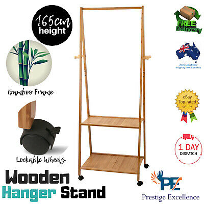 Bamboo Hanger Stand Clothes Coat Unit Wooden Display Valet Rack Shelves Office
