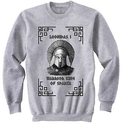 Warrior King Of Sparta Leonidas I - New Cotton Grey Sweatshirt- All Sizes