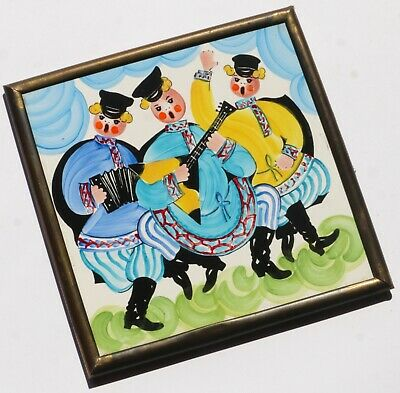 Vintage Wall Tile - Made in Czechoslovakia - Hand Painted Tile- Brass Frame Tile