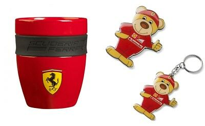 KEYRING KEYCHAIN LLAVERO TEDDY BEAR OFFICIAL SCUDERIA FERRARI 2015 SEASON NEW