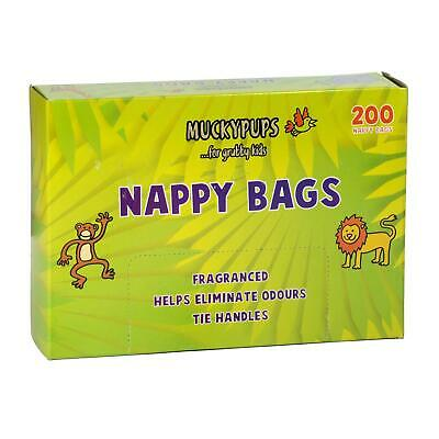 Muckypups Disposable Nappy Bags Fragranced & Tie Handles (200 Nappy Bags)