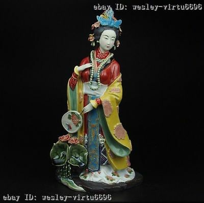 China Royal Palace Pottery Wucai Porcelain Woman Imperial Concubine Lotus Statue