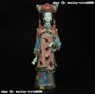 China Pottery Wucai Porcelain Home Display Decoration Woman Ladies Girl Statue