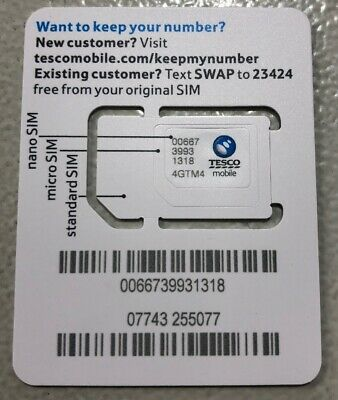 TESCO MOBILE PAYG SIM card With £30 Credit Triple Credit