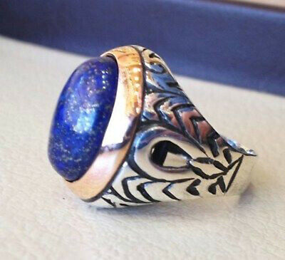 49558ac6a Solid 925 Sterling Silver Natural Blue Lapis Lazuli Gemstone Mens Ring  Jewelry