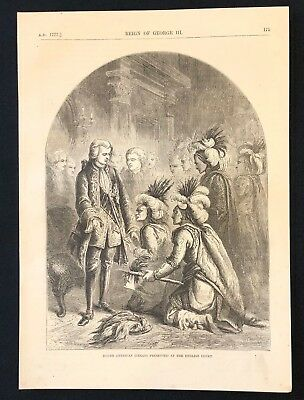 Antique 1873 Book Print/Plate NORTH AMERICAN INDIANS AT THE ENGLISH COURT (1777)