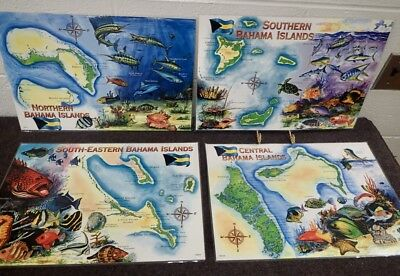 set of 4 vintage laminated placemats Marine Fishes and Maps of Bahama Islands