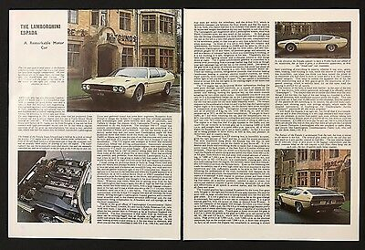 Vintage 1972 Motor Sport Magazine Article - THE LAMBORGHINI ESPADA