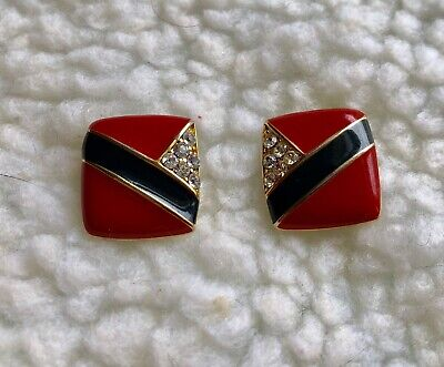 Vintage Gold Tone Square Shaped Clear Rhinestone & Red/Navy Blue Enamel Earrings