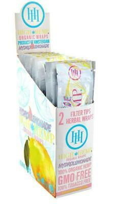 High Hemp Organic Wrap Full Box 25 Pouches 2 Wraps per Pouch 50 Wraps Lemonade