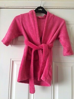 Girls George Pink Dressing Gown Fluffy Hooded Bath Robe 18-24 Months B8