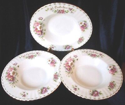 Royal Albert Bone China October Cosmos Rim Soup Bowls Set of 3 - 9.5 in. England