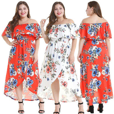 Boho Floral Off Shoulder Ruffle Long Dress Women Summer Holiday Party Dresses