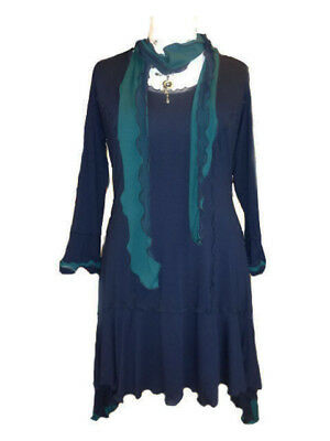 C117 Caroline Ann Lagenlook Poncho Navy Made to Order in UK
