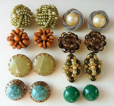 Earrings Bijoux De Anciens Antique Vintage Lot Boucles D'oreilles IgyYb6fv7m