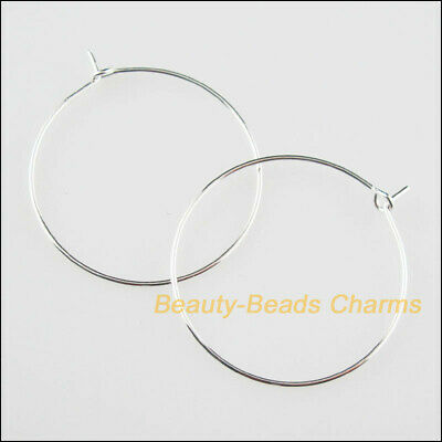 40Pcs Silver Plated Round Earring Hoops Findings For Gifts Jewelry 30mm