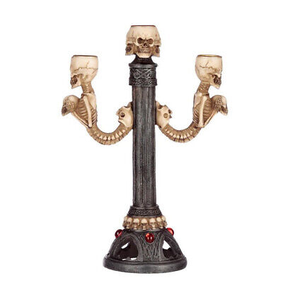 Gothic Gifts - TRIPLE SKULL & SPINE CANDLE HOLDER - gothic, horror, halloween