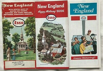 LOT of 3 Vintage New England Area Esso Road Maps from 1950's- 1970's