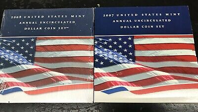 2 Pc Lot 2007 2008 United States Mint Annual Uncirculated Dollar Coin Sets