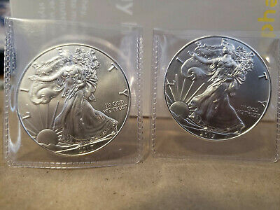 Lot of (5) 2019 1 oz .999 Fine American Silver Eagle Bullion Coins