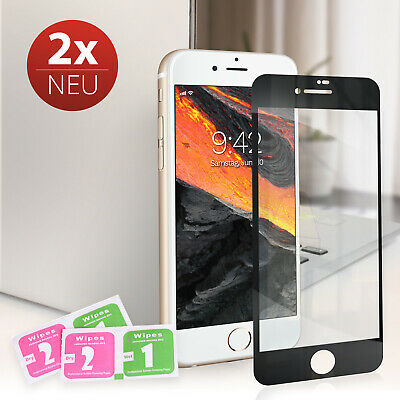 2x für iPhone 6 6s 7 8 Plus 9H Panzer Schutz Glas 6D Folie Full Screen Hartglas