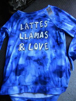 Justice Girls Long Sleeve Shirt Top Size 20 Blue Tie Dyed Lattes Llamas /& Love