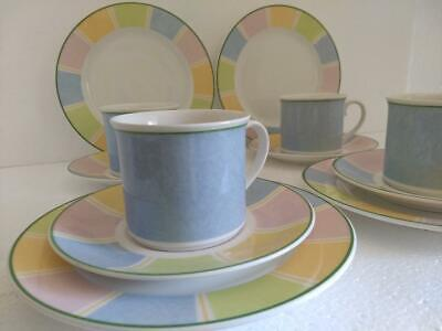 Villeroy & Boch TWIST COLOUR 4 Cup & Saucer sets, and 4 Salad/Dessert Plates
