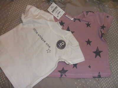 BNWT Next 2 Pack S/S Tops Cream Unique One/Pink Stars Size 9/12mths