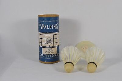 Vintage Spalding Real Feather Shuttlecocks In Tube 1940s C