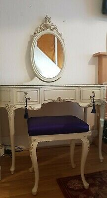beautiful french vintage blue satin kidney shape  dressing table