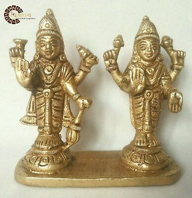 Goddess Lakshmi Narayan Brass Idol Vishnu Laxmi Wealth Worship Home Laxmi 3""