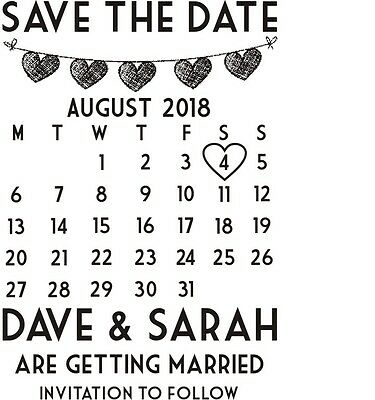 FREE BLACK PAD PERSONALISED SAVE THE DATE RUBBER STAMP WEDDING CELEBRATION