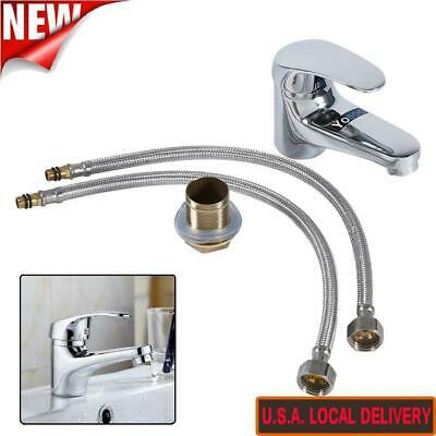 Bathroom Kitchen Basin Mixer Tap Sink Water Hot/Cold Faucet Single Hole Silver