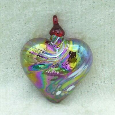 Hand Blown Art Glass Heart Christmas Ornament Red Iridescent 3 inches