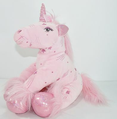 c7eabce8db1 Plush Pink Unicorn Build a Bear Shooting Star Glittery Stuffed Animal 15