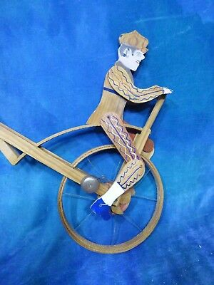 Unusual Vintage 1950s Roll Wood Unicycle Toy India- Bell Rings, Wheel Turns! G54