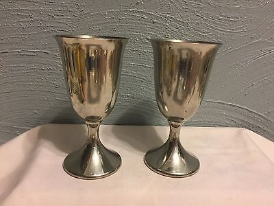 "2 VTG Revere Pewter Goblets Drinking Glasses Cordial Water Wine 6"" Tall"