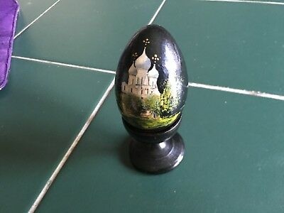 Hand Painted Wooden Russian Egg w/Stand - Onion domes
