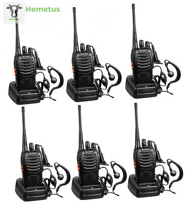 Arcshell Rechargeable Long Range Two-Way Radios with Earpiece 6 Pack UHF...