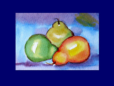Pears Fruit Stillife Original ACEO Watercolor Miniature painting 2.5 x 3.5 in