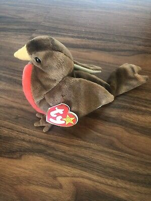 e5b84eae48c TY Beanie Babies Baby 1997 EARLY the Robin Bird Rare Retired ERRORS  Collectible