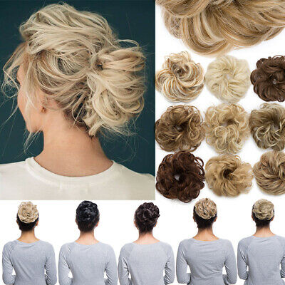 UK Thick Large Messy Chignon Updo  Bun Hair Extension Remy Real 100% Natural mtw