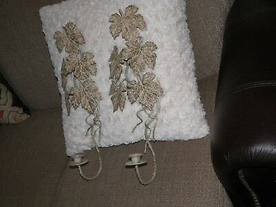 Vintage  Metal Candle Holders Wall Sconce Leaves ( Have Been Splatter Painted)