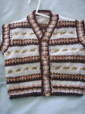 NEW Made in Uk ~ 18 mths Fairisle waistcoat/body warmer Handknit Own design